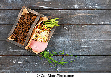 Special pet food VS natural pet food. Ingredients turkey, ...