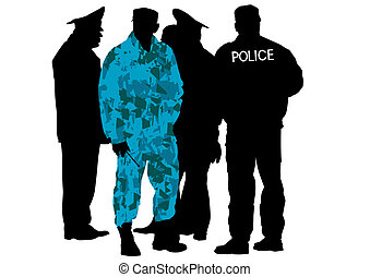 Special police force - Vector drawing of special police...