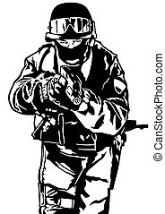 Special Police Forces - Black and White Illustration, Vector