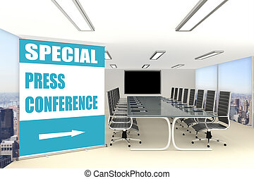 Special Press Conference concept - 3D illustration of...