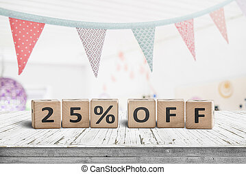 Special price 25 percent off promotion sign