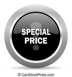 special price black metallic chrome web circle glossy icon
