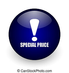 Special price blue glossy ball web icon on white background. Round 3d render button.