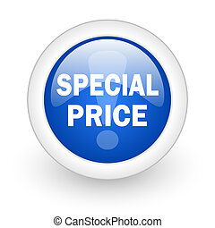 special price blue glossy icon on white background