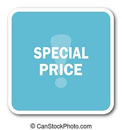 special price blue square internet flat design icon