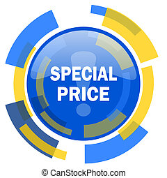 special price blue yellow glossy web icon