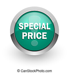 special price green glossy web icon