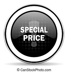 special price icon, black chrome button