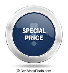 special price icon, dark blue round metallic internet button, web and mobile app illustration