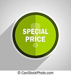 special price icon, green circle flat design internet button, web and mobile app illustration