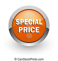 special price orange glossy web icon