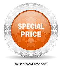 special price orange icon, christmas button