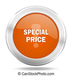 special price orange icon, metallic design internet button, web and mobile app illustration