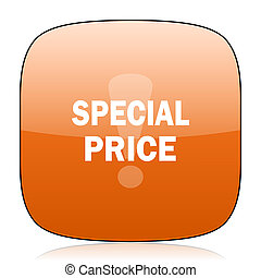 special price orange square web design glossy icon
