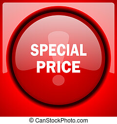 special price red icon plastic glossy button