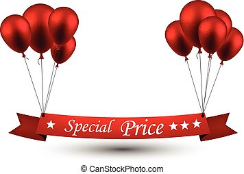 Special price red ribbon background with balloons.