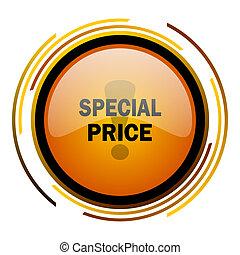 special price round design orange glossy web icon