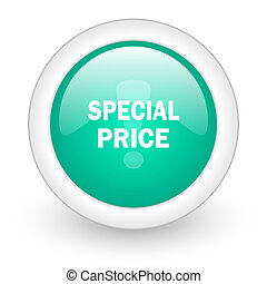 special price round glossy web icon on white background