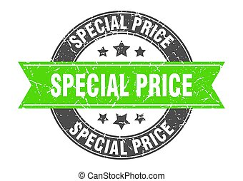 special price round stamp with ribbon. label sign
