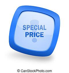special price square glossy blue web design icon