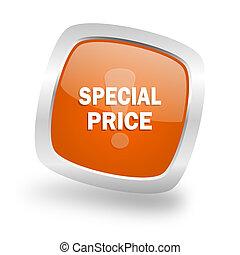 special price square orange glossy chrome silver metallic web icon