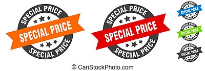 special price stamp. special price round ribbon sticker. tag