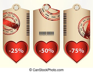 special price tags with valentine design