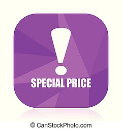 Special price violet square vector web icon. Internet design and webdesign button in eps 10. Mobile application sign on white background.
