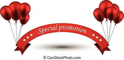 Special promotion red ribbon background with balloons.