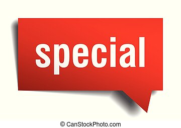 special red 3d speech bubble