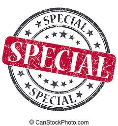 Special red grunge round stamp on white background