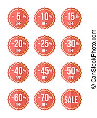 Special red offer sale tag discount symbol retail sticker sign price set