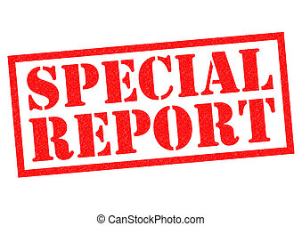 SPECIAL REPORT red Rubber Stamp over a white background.