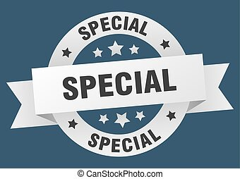 special ribbon. special round white sign. special