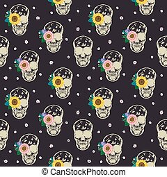 special seamless pattern with skull and flowers