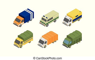 Special services trucks set, municipal specialized vans vector Illustration on a white background