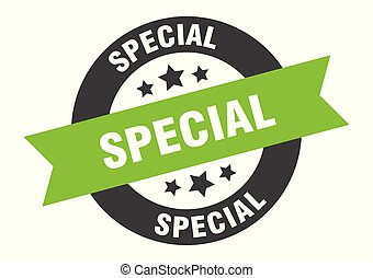 special sign. special black-green round ribbon sticker