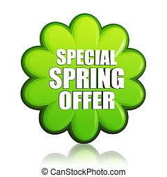 special spring offer green flower label
