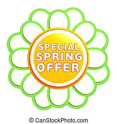 special spring offer green orange flower label