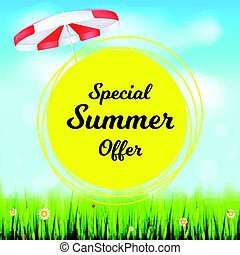 Special summer offer selling ad banner. Holiday discounts backdrop with big yellow sun, green field, white clouds and blue sky. Template for shopping, advertising signboard, price reduction poster