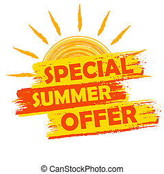 special summer offer with sun sign, yellow and orange drawn...
