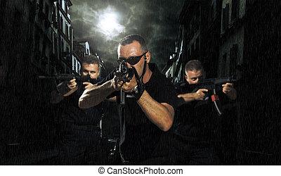 special tactics team in the streets - special tactics team...