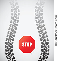 special tire track with stop sign