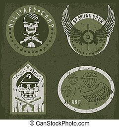 Special unit military grunge emblem set vector design template