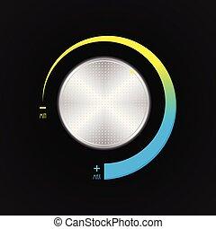 special volume control button, silver radio player volume knob