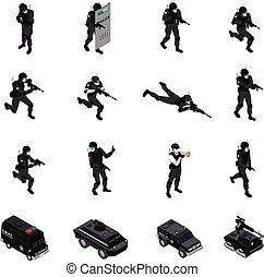 Swat special weapons and tactics law enforcement units ammunition and military equipment isometric icons collection isolated vector illustration