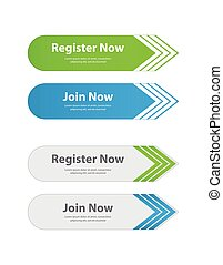 special website buttons, register, download, join ...