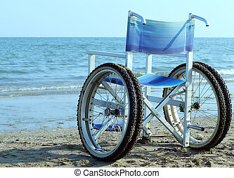 Special wheelchair with wheels and tires to go into the ocean