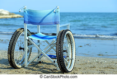 Special wheelchair with wheels and tires to go into the water