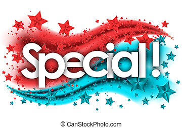 special word in stars colored background